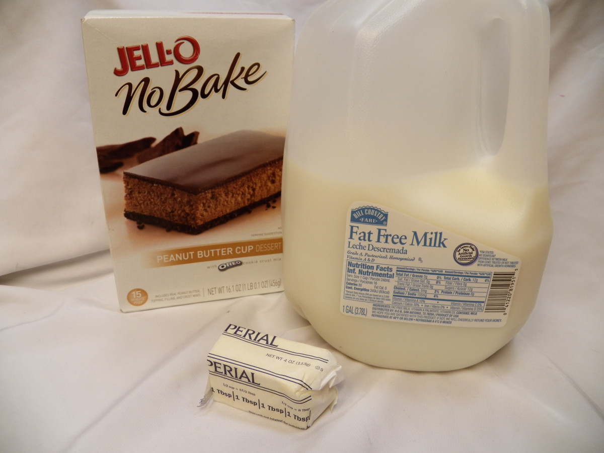 Ingredients to make Jello No Bake Peanut Butter: Mix, milk and butter or margarine.