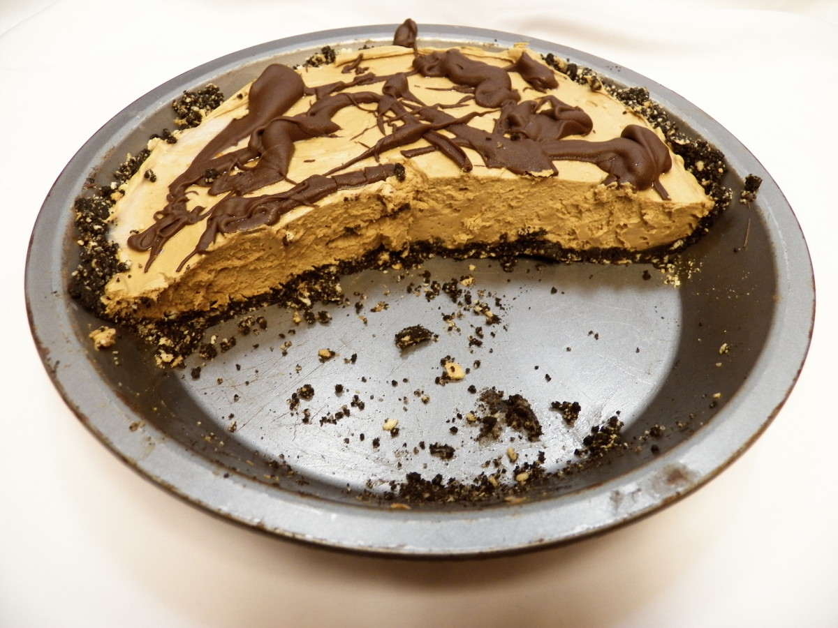 Peanut Butter Chocolate Pie: My family grabbed slices before I could get a picture of the whole pie!