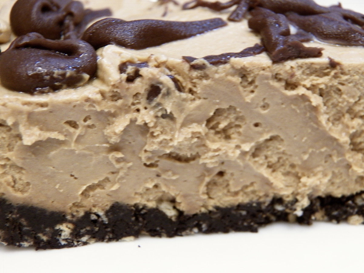 Peanut Butter Chocolate Pie close up.