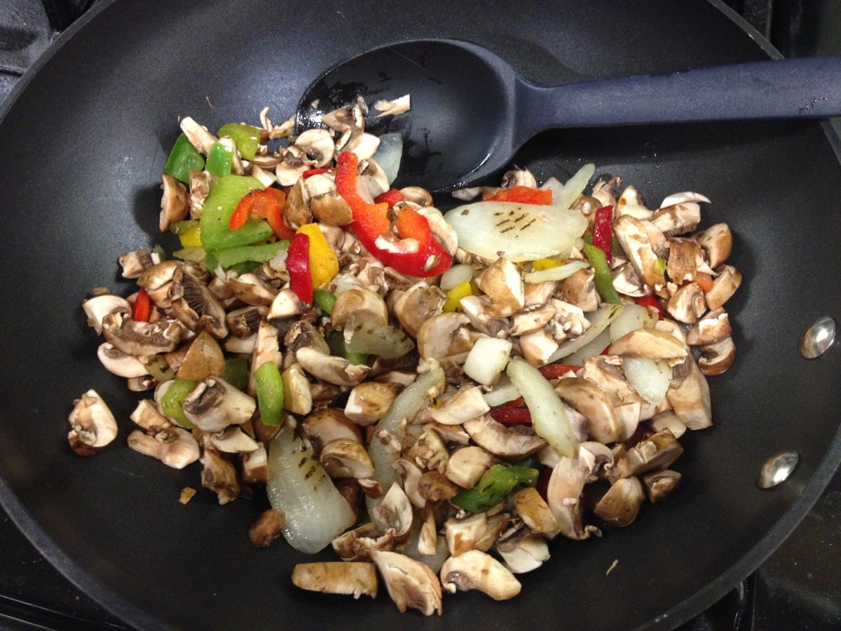 Sautee the vegetables until soft.