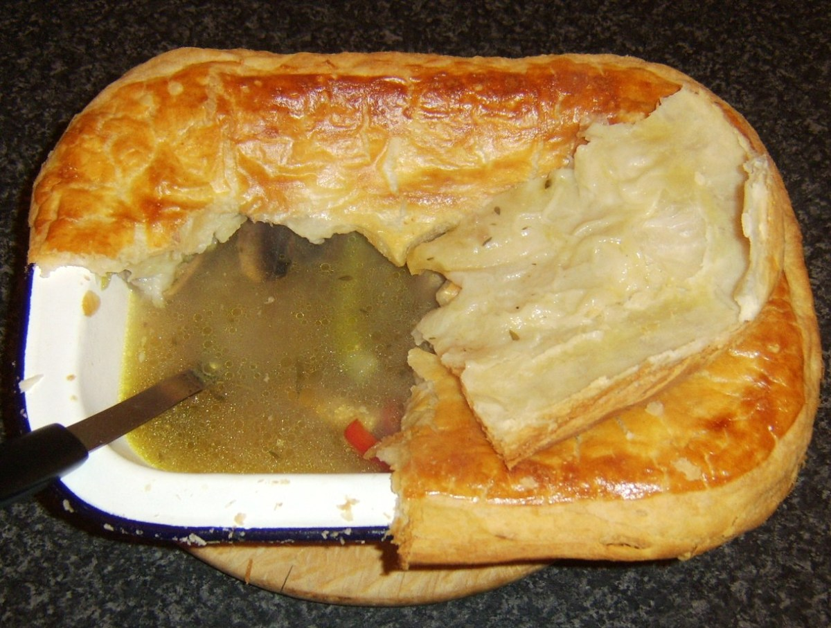 Pie is cut open for serving