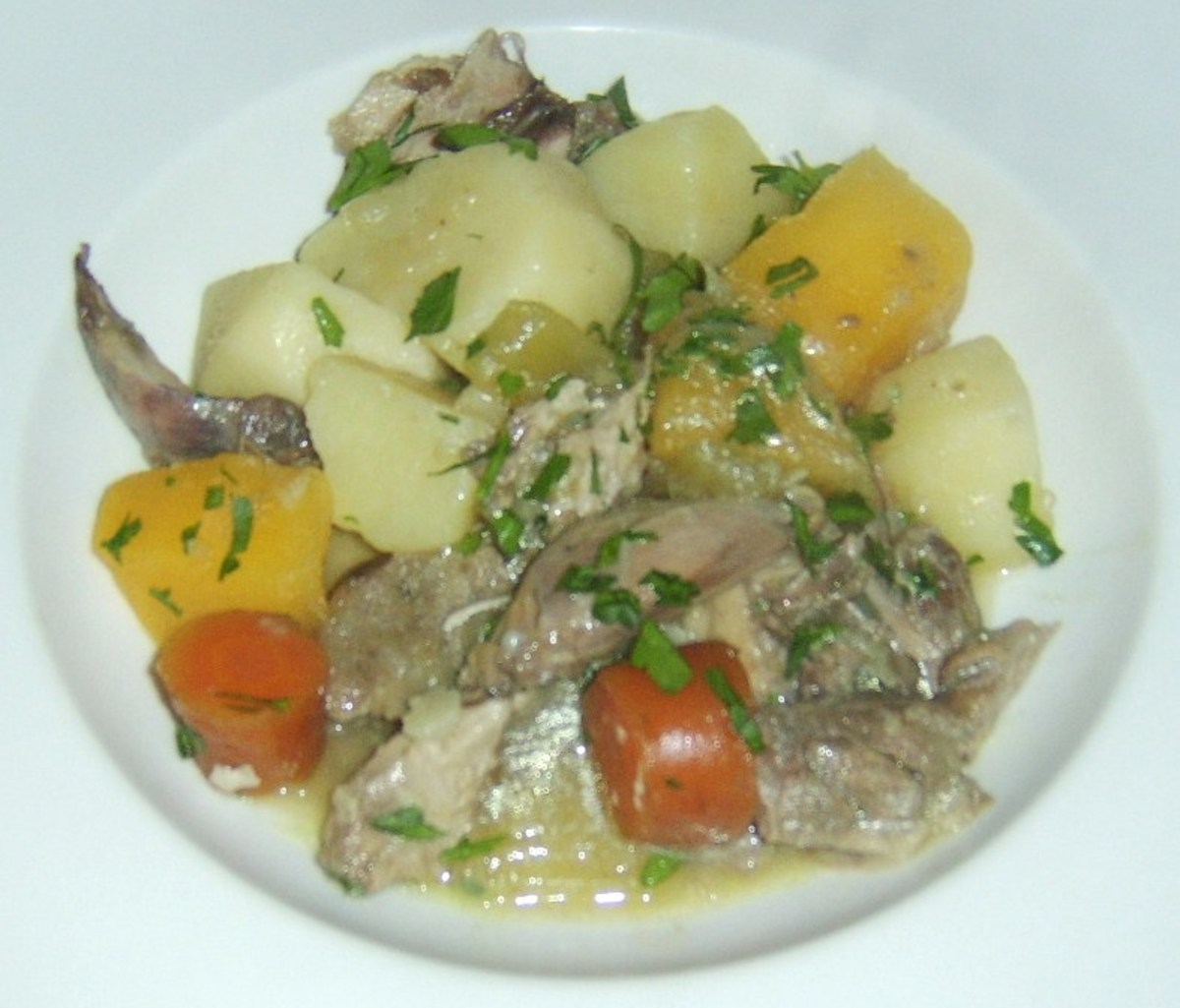 A single serving of rabbit, lamb and root vegetable stew