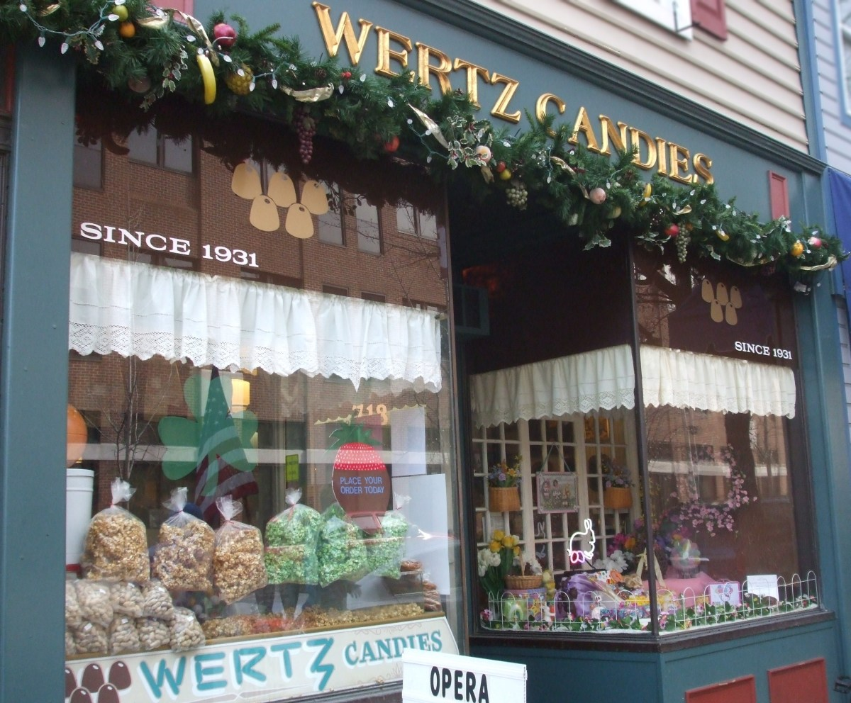 The Wertz Candies storefront on the main street of Lebanon, PA.