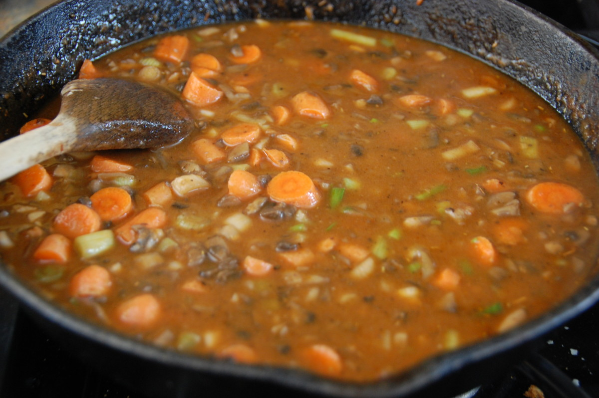 with beef broth, carrots, and Worchestershire added