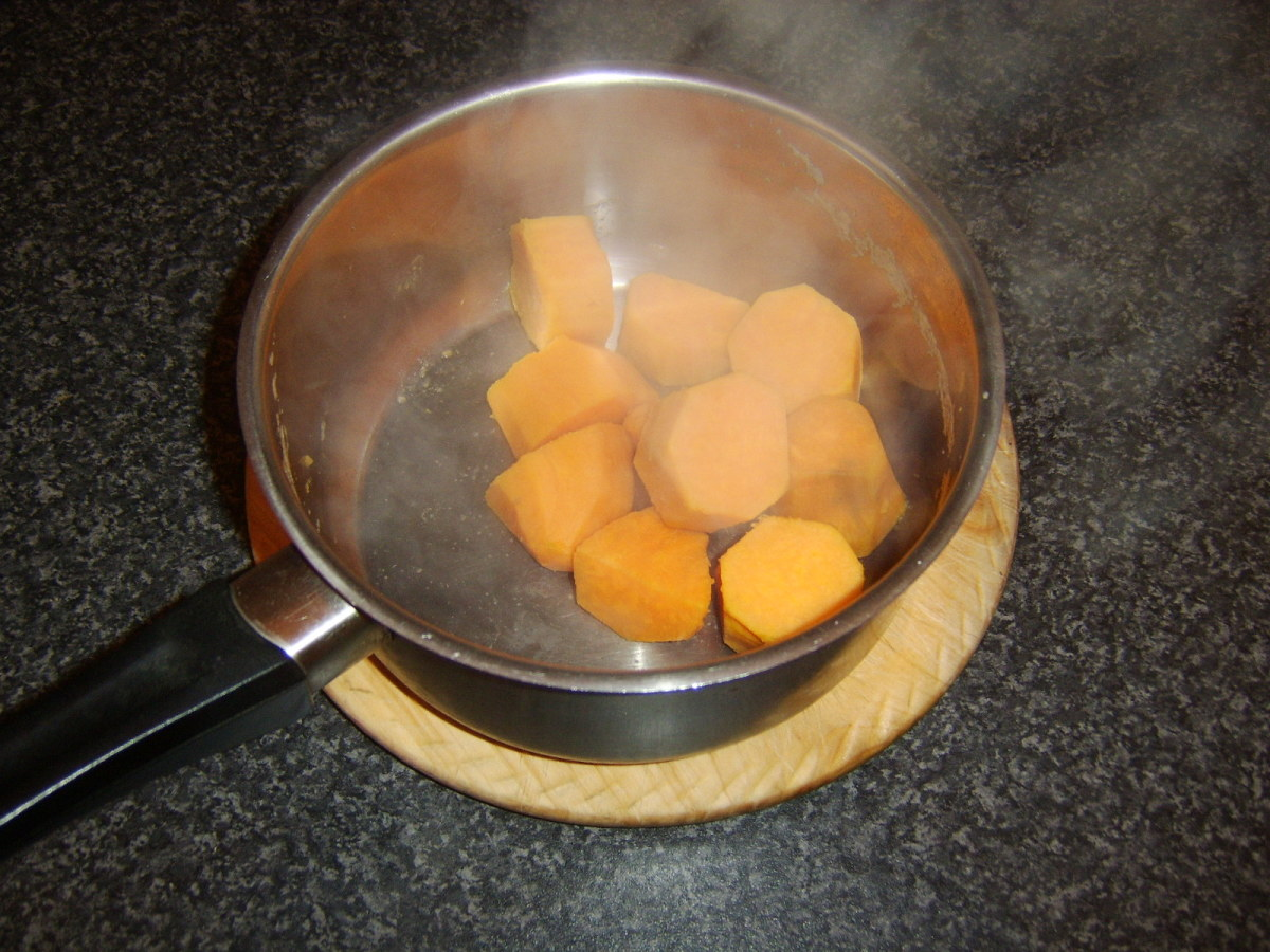 Sweet potatoes are left to steam and dry out