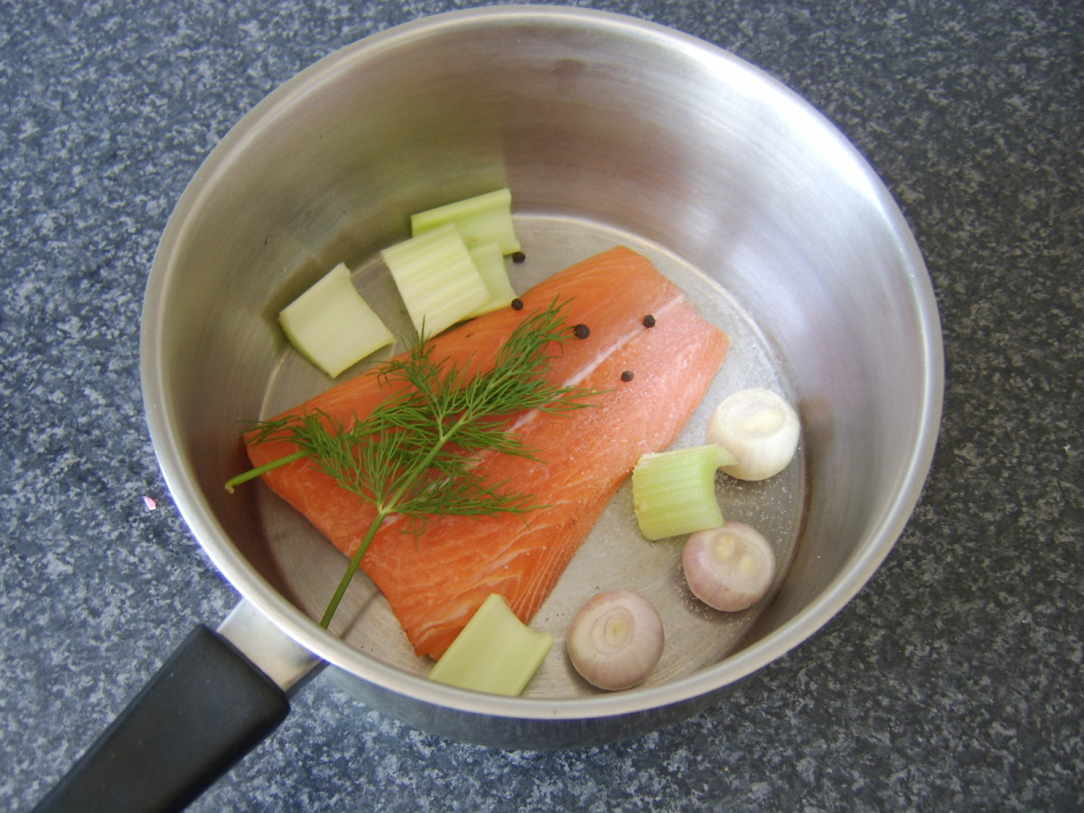 Preparing salmon for poaching