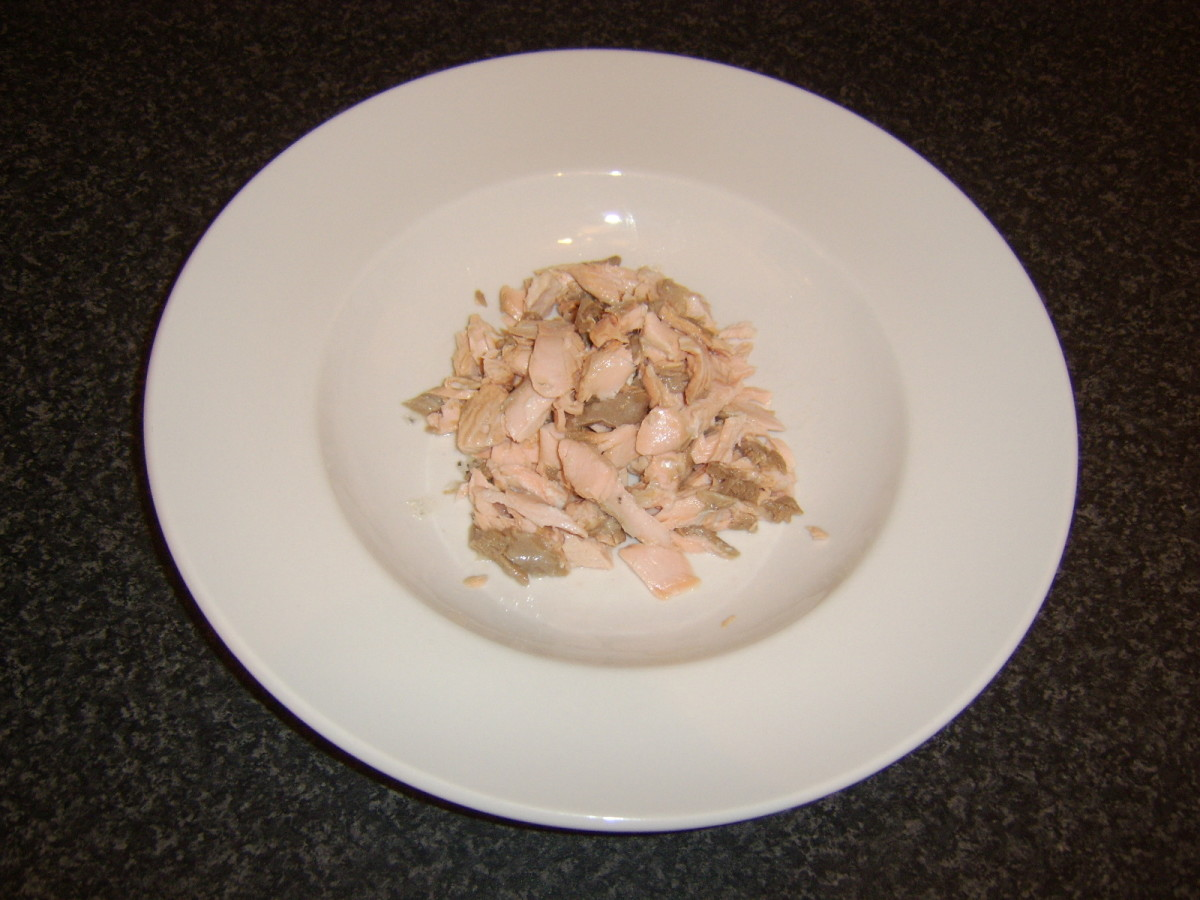 Flaked poached salmon