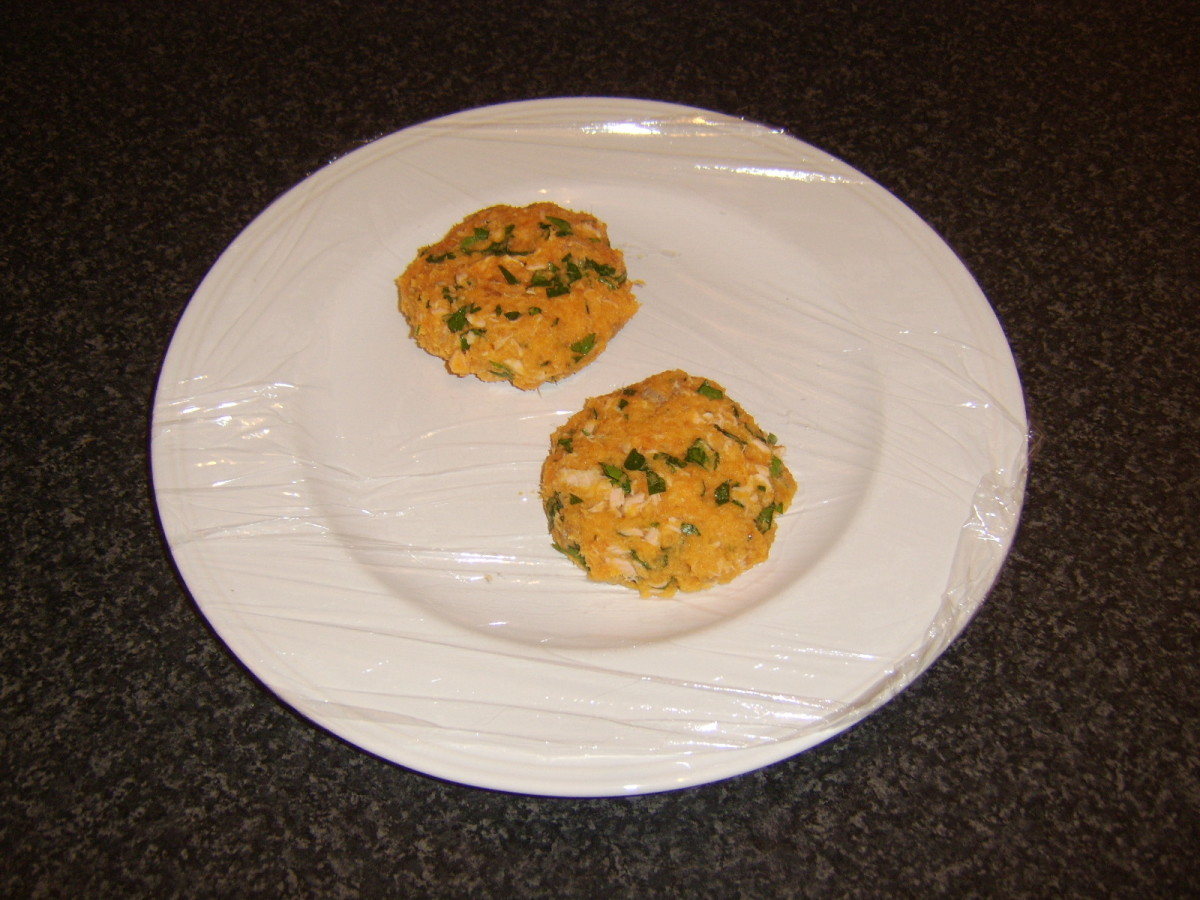 Formed salmon and sweet potato cakes ready for the fridge
