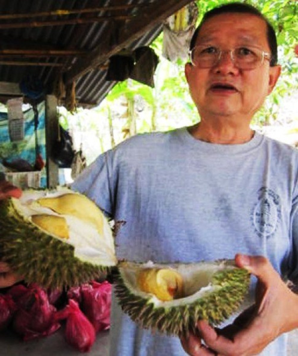 Me with my favorite fruit—and my vote for the world's weirdest fruit—the durian.