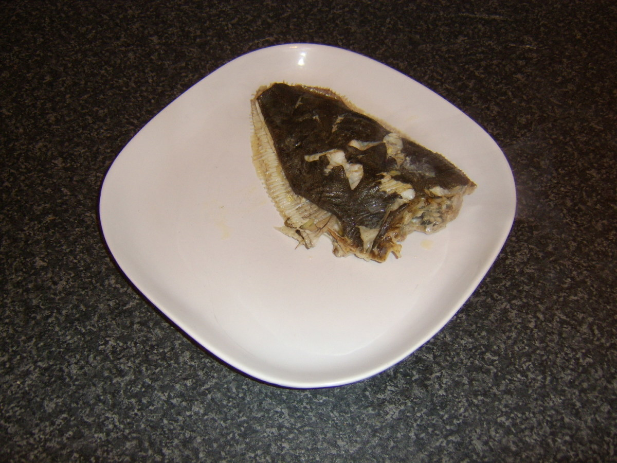 Baked flounder is plated