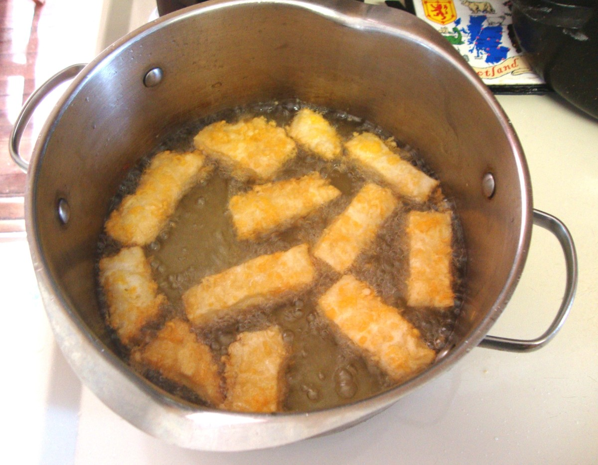 Fry the fingers in hot oil.