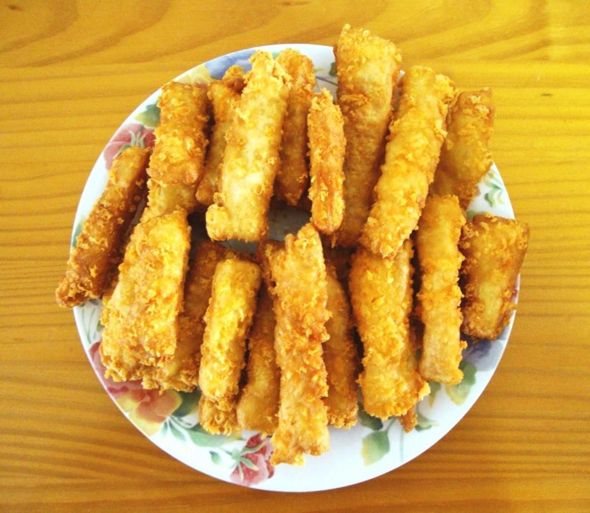 Golden fry bread fingers.