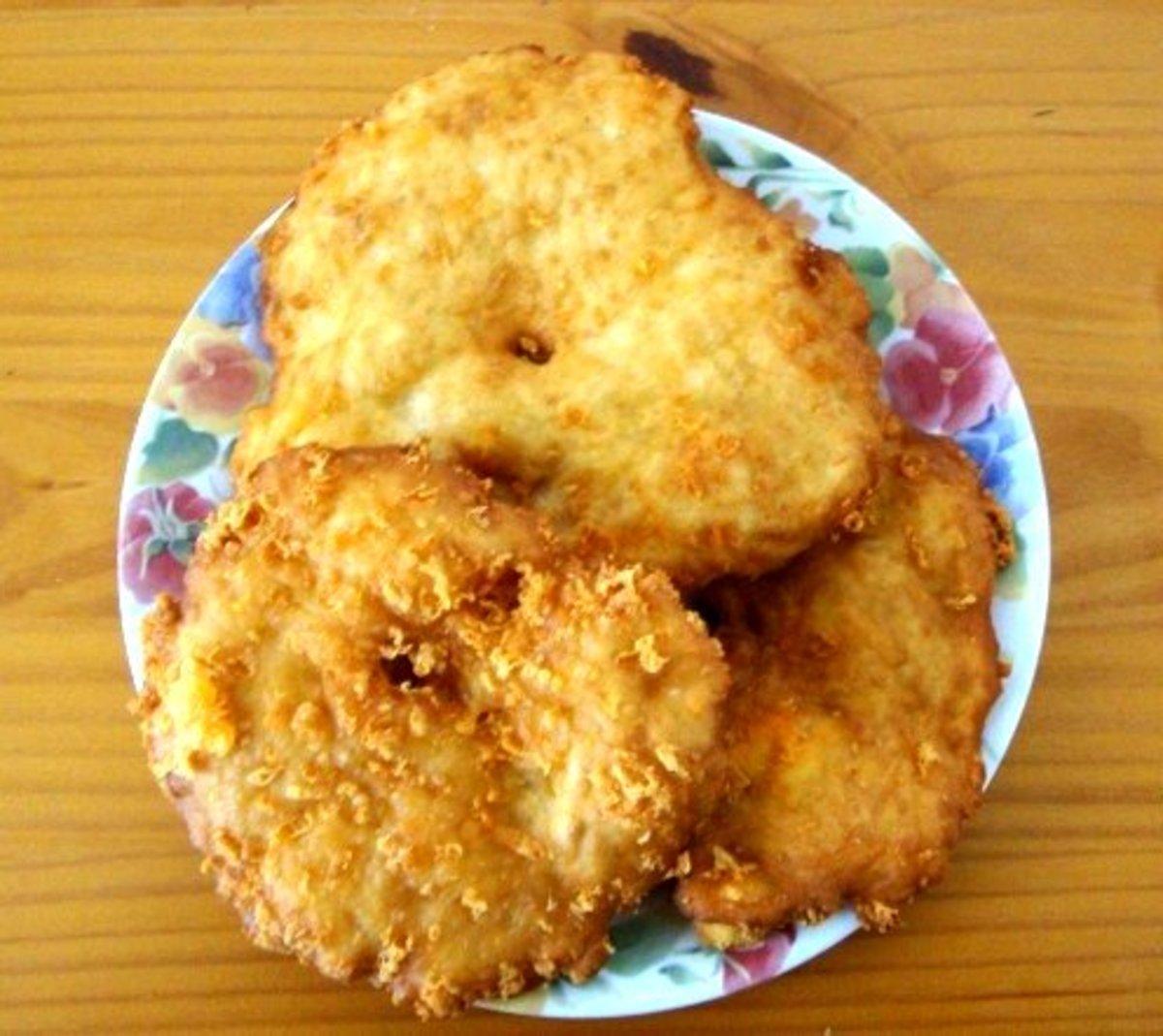 Fried crispy and golden.