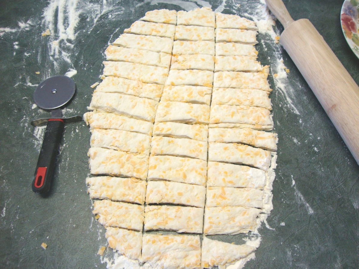 Cut the dough into fingers. A pizza wheel makes easy work of this job.
