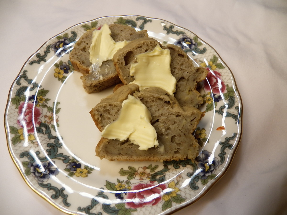 Banana Bread with fat-free butter.  My family ate this no-sugar, no-fat banana bread all up. No one even knew the difference!
