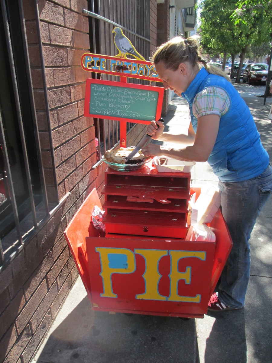 The Pie Fridays pie cart with owner, Sunde.