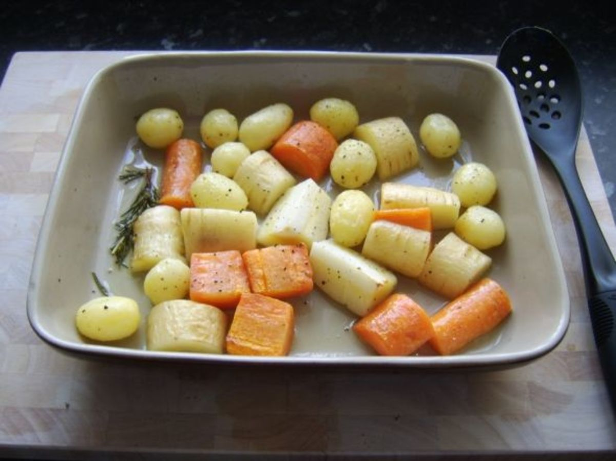 Root vegetables roasted in duck fat