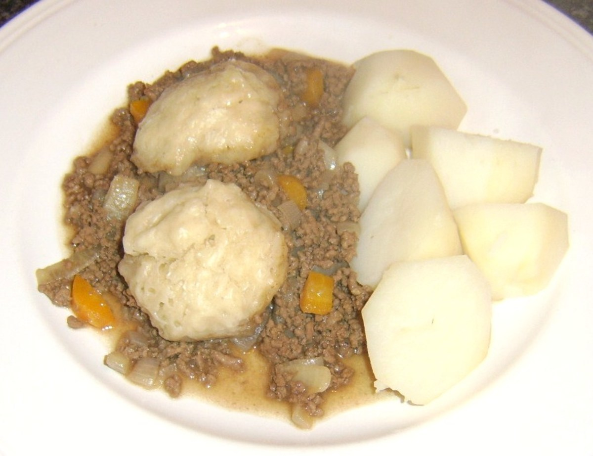 A basic version of mince and tatties served with dough balls (simple dumplings) which are usually cooked on top of the mince