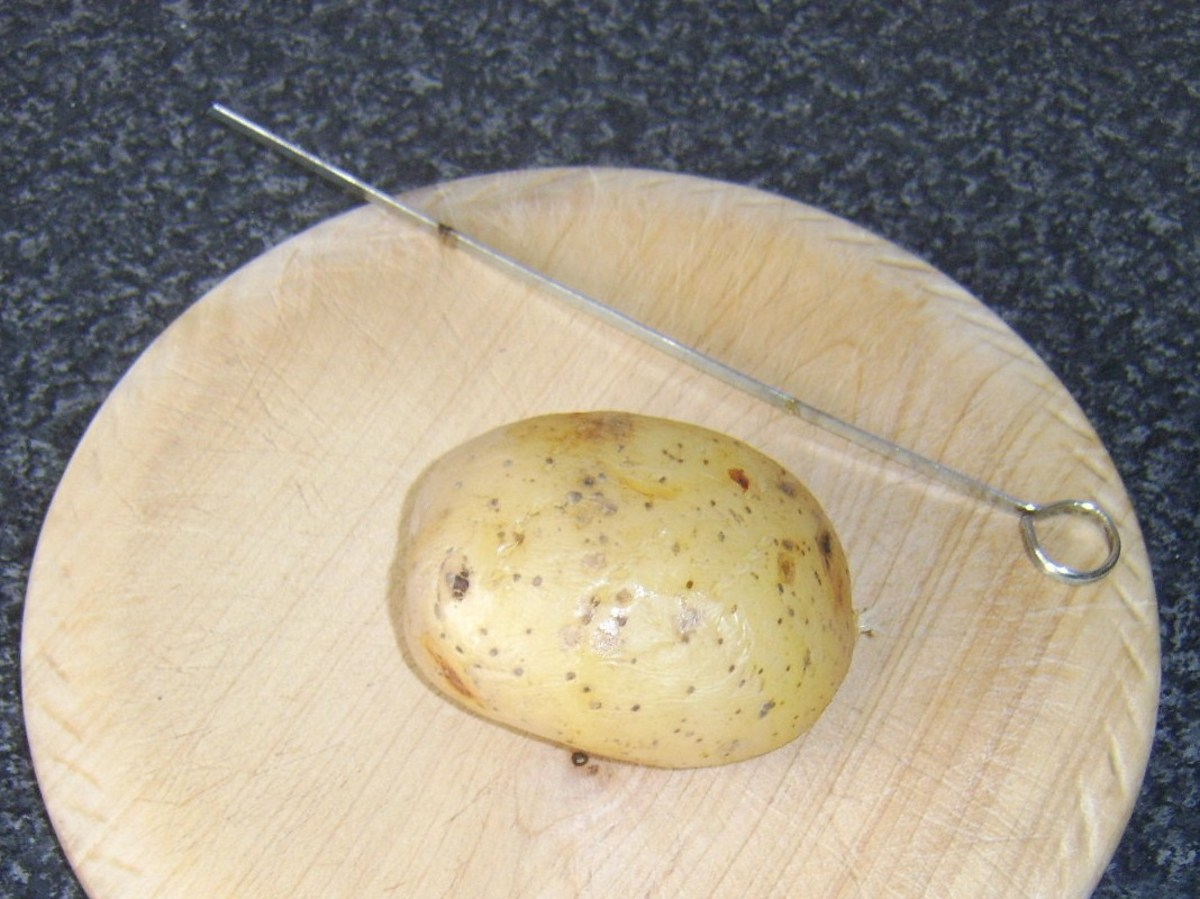 Metal skewer easily pulls free from baked potato