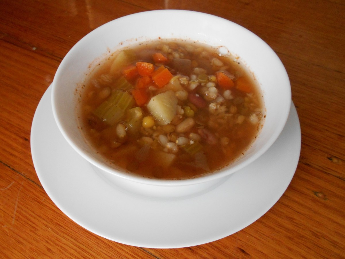 Hearty mixed bean soup