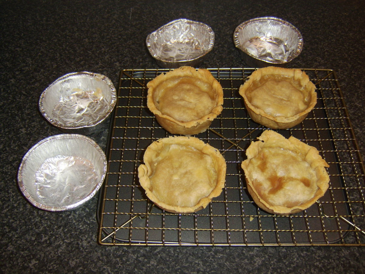 Rested Scotch pies lift easily and cleanly from their foil cases