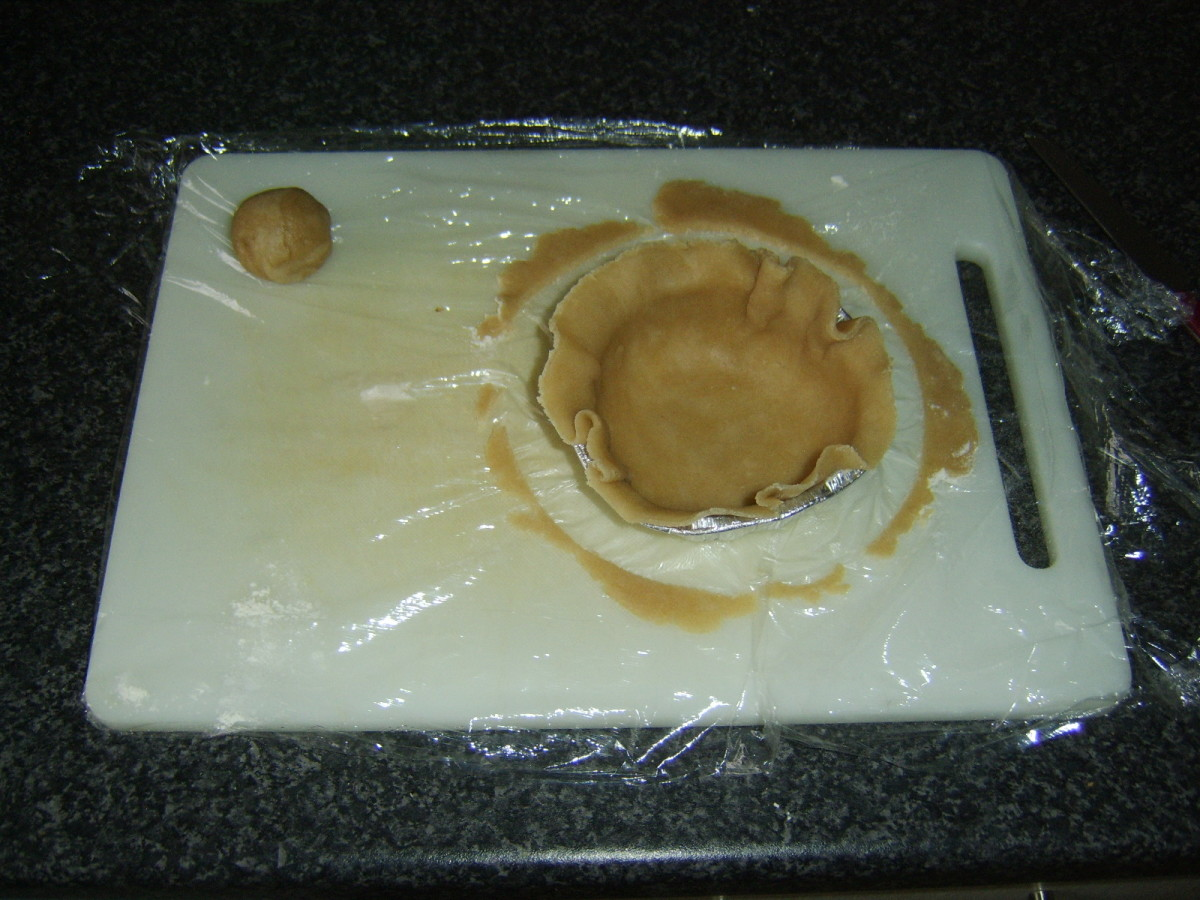 Pie case is carefully lined with hot water pastry