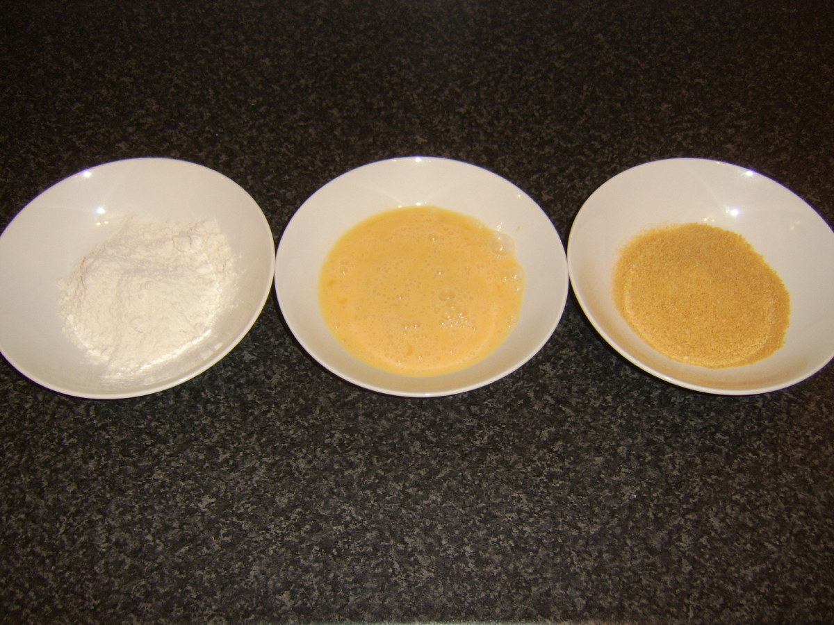 Flour, egg and breadcrumbs for coating potato cakes