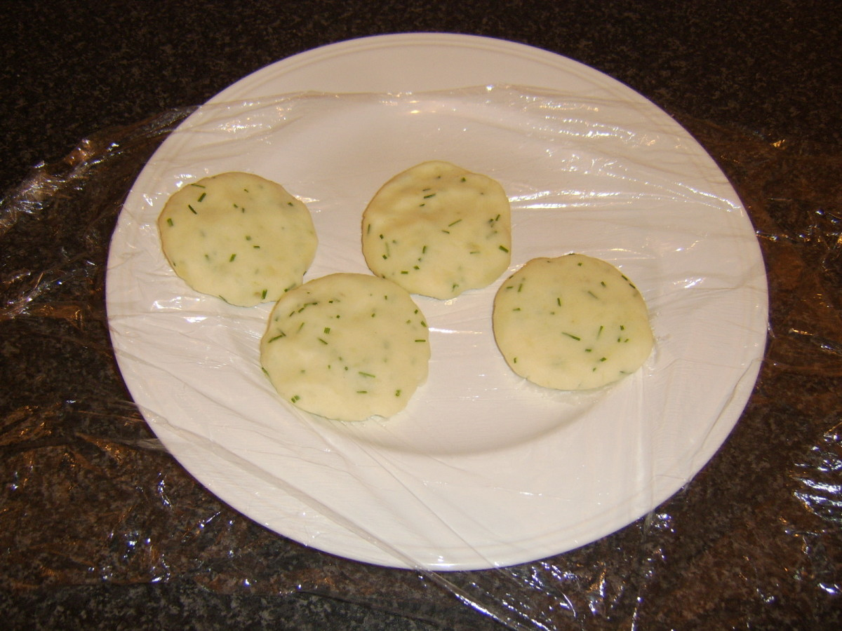 Potato cakes lift easily from the dish when using clingfilm