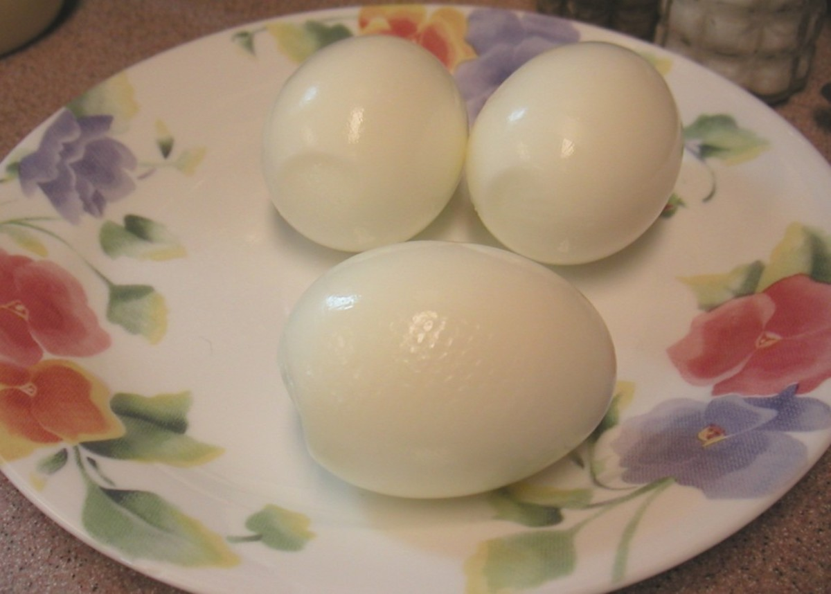 Cooled, peeled boiled eggs