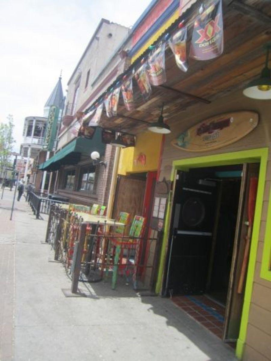 Sidewalk seating at San Felipe's in downtown Flagstaff