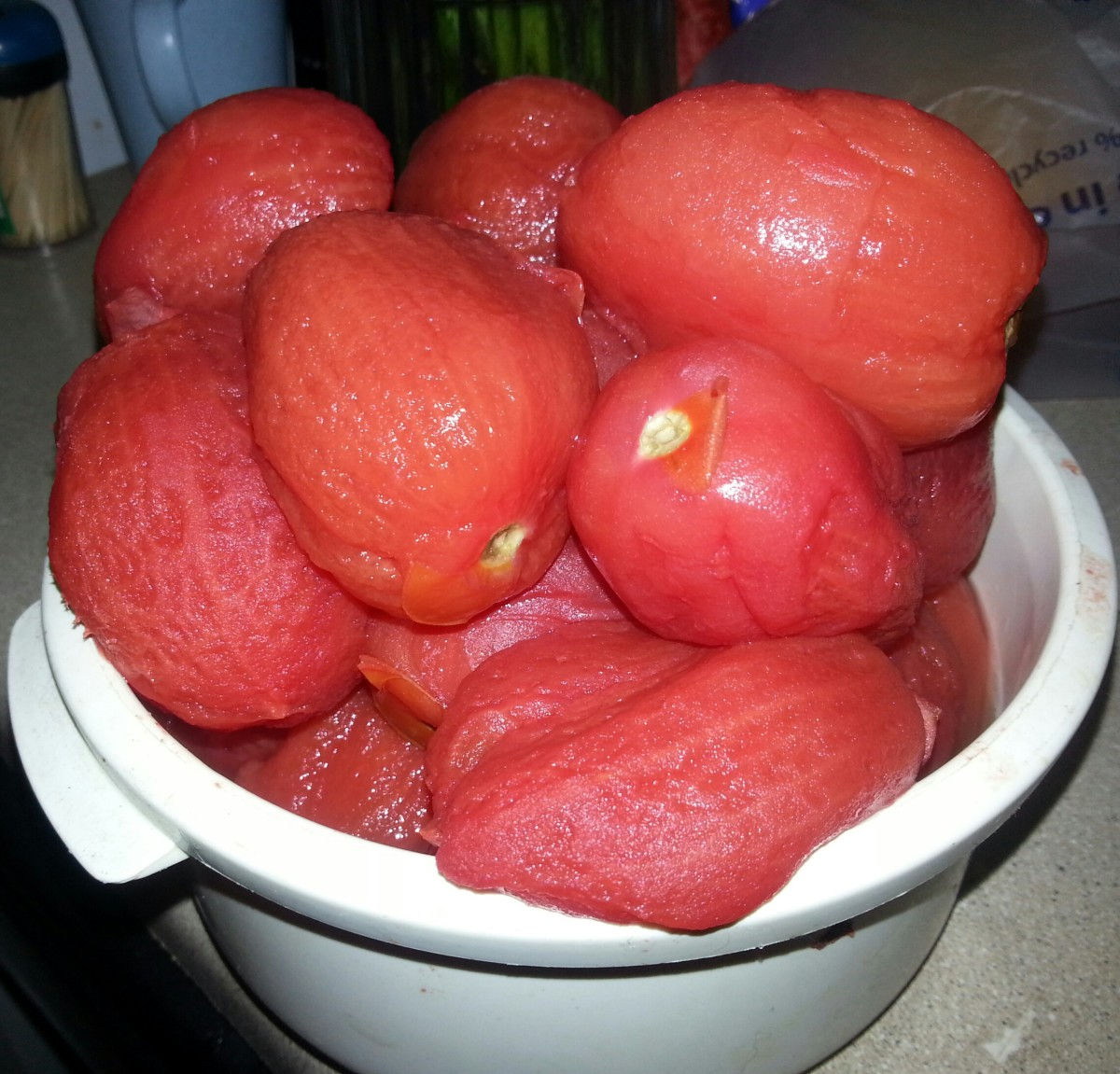 Blanched and peeled tomatoes.