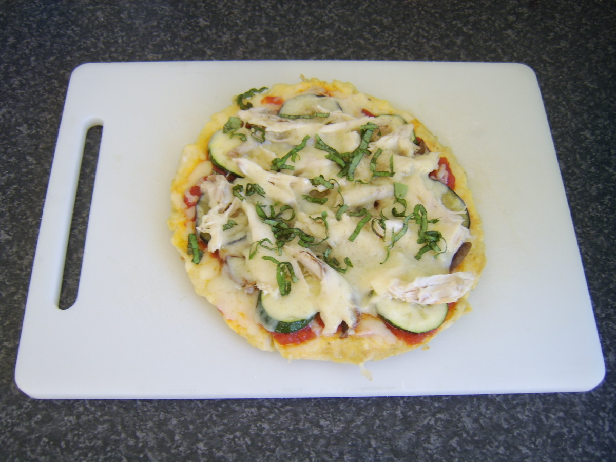 Basil garnishes pizza omelette for service