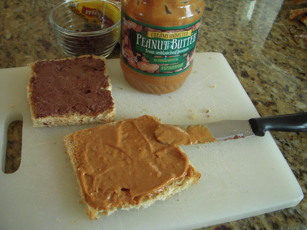 Spread peanut butter on second slice of bread