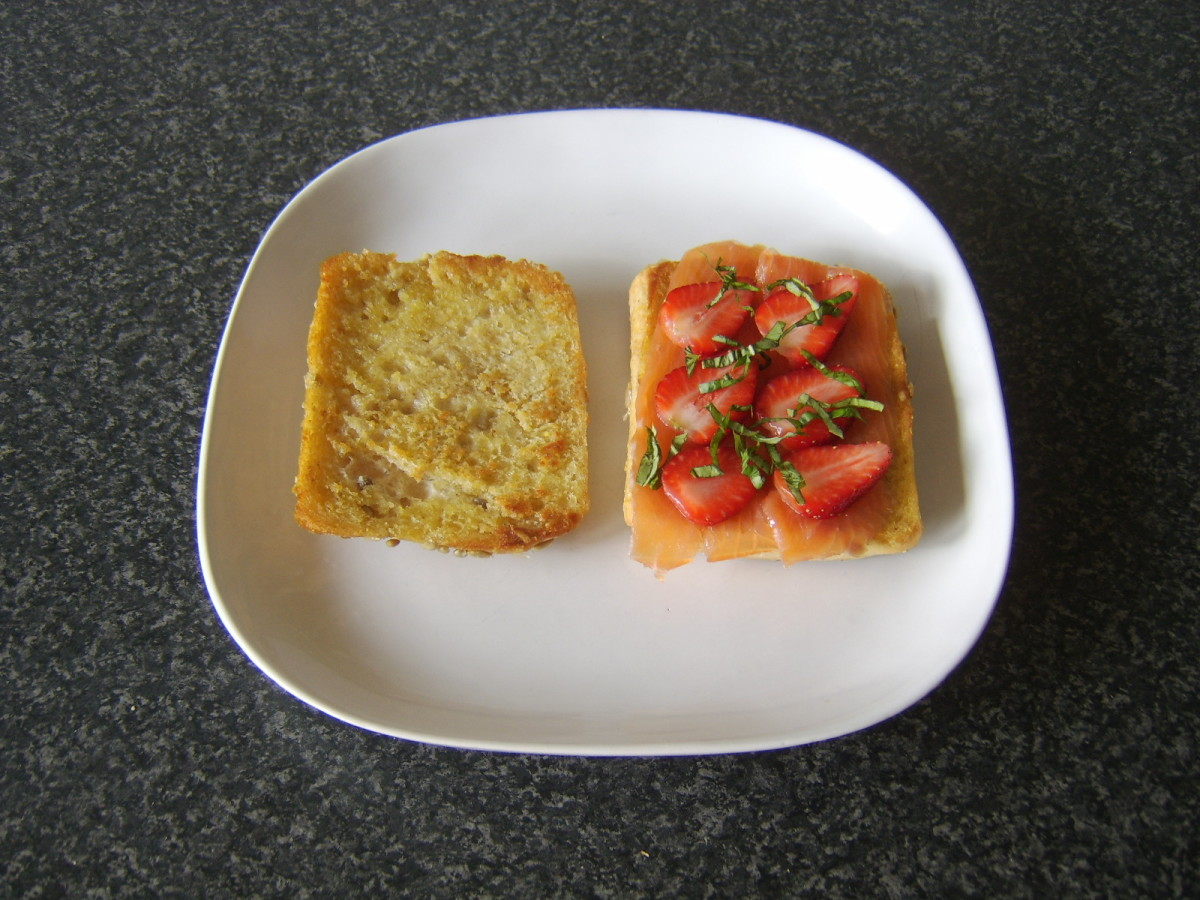 Oak smoked salmon, strawberries and basil make for a simple but excellent sandwich