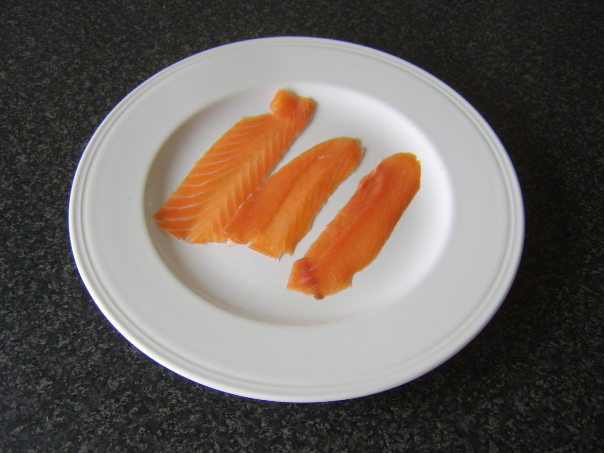 Oak-smoked, long slice salmon.