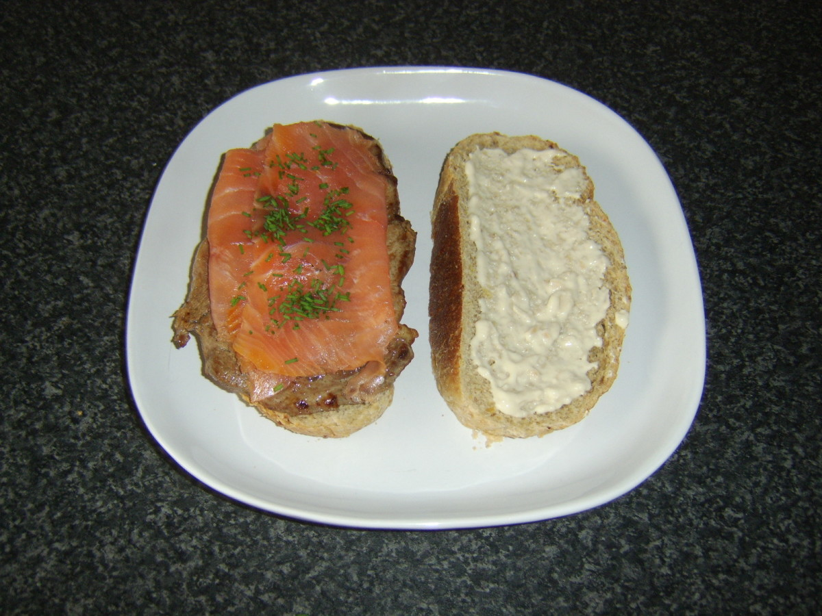 Beef rib eye steak, smoked salmon and horseradish sauce sandwich