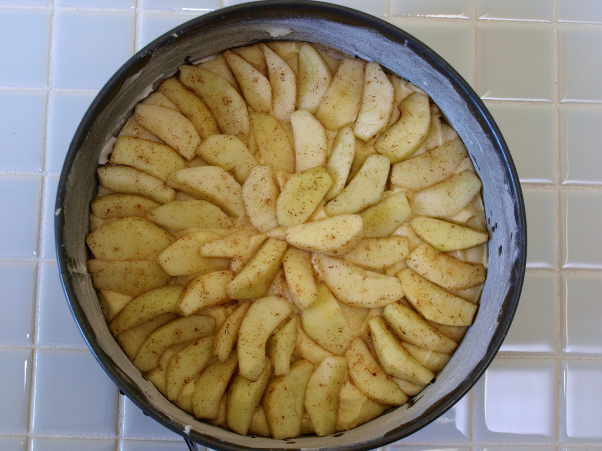 Place the prepared apples in a pattern of your choice.  The dough will rise and bake through the apples.