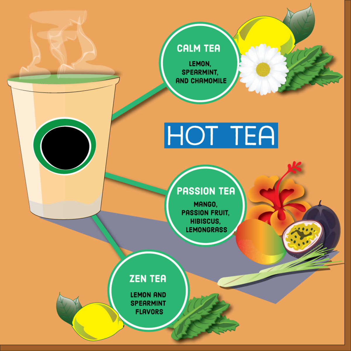 Hot teas have a variety of caffeine-free flavors.