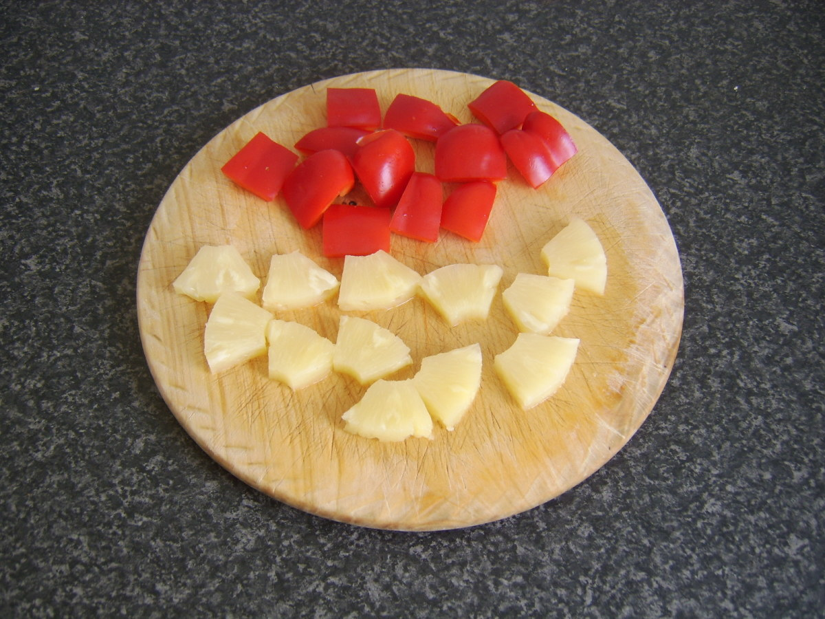 Chopped red bell pepper and pineapple pieces