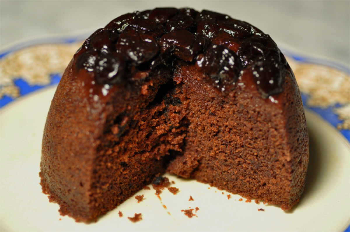Section of Steamed Sour Cherry Chocolate Sponge Pudding. Image: © Siu Ling Hui