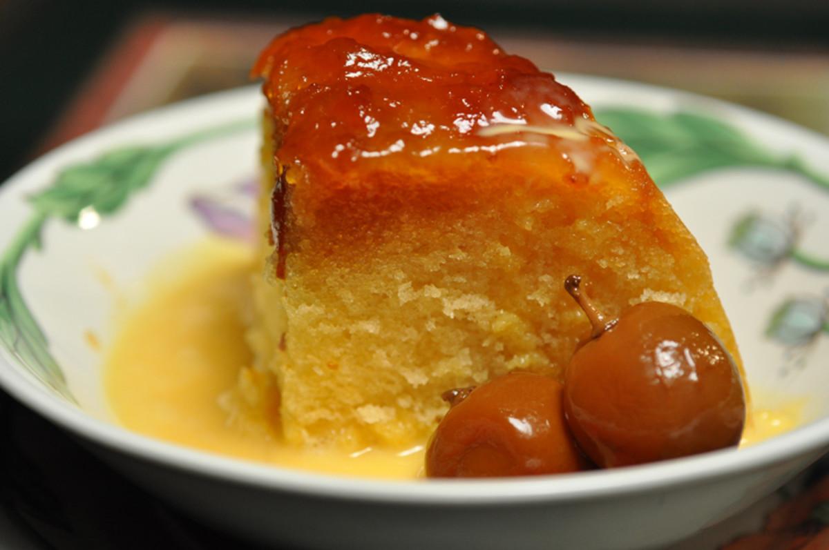 Steamed Cumquat Marmalade Pudding served with Warm Custard Sauce and Brandied Cumquats. Image: © Siu Ling Hui