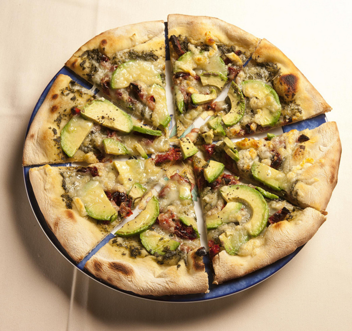 Sun Dried Tomato and Avocado Pizza. Try the avocado tartar sauce listed below for dipping with this meal.