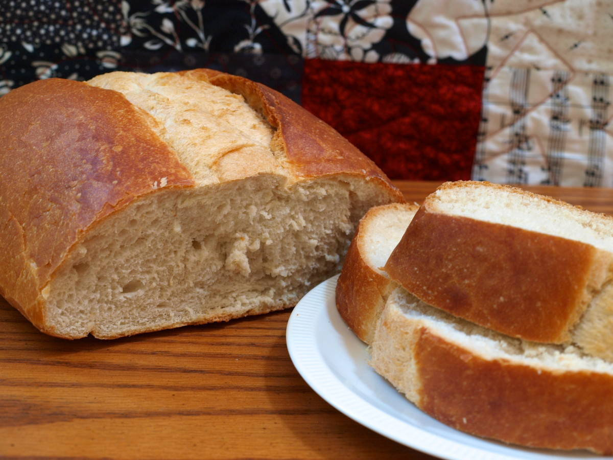 A fresh loaf of italian bread is a great beginning to this sandwich.
