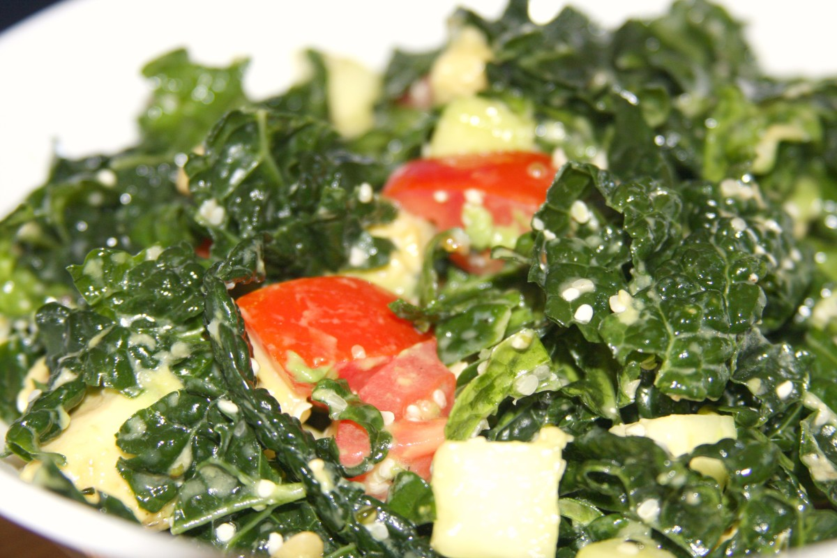 Tahini detox dressing is perfectly paired with kale salad.
