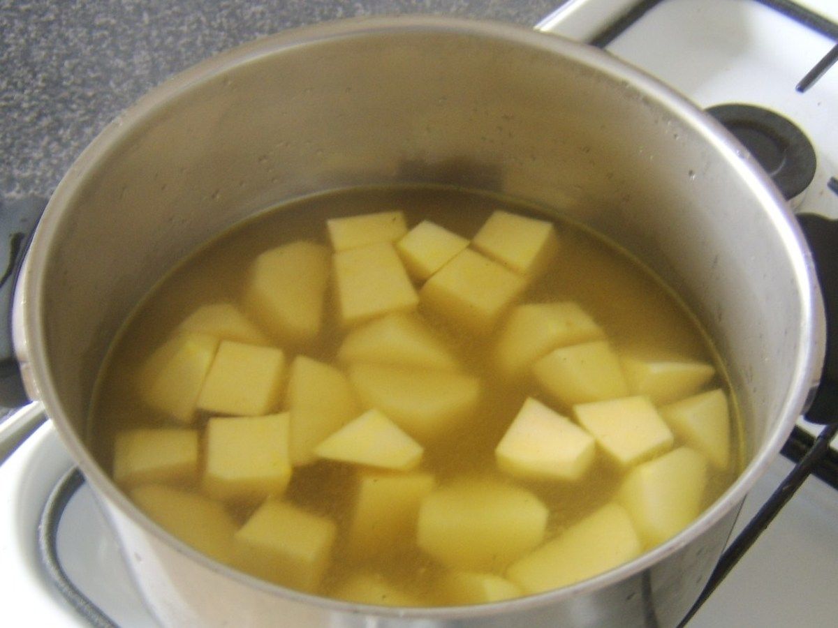Chicken stock is added to tatties and neeps