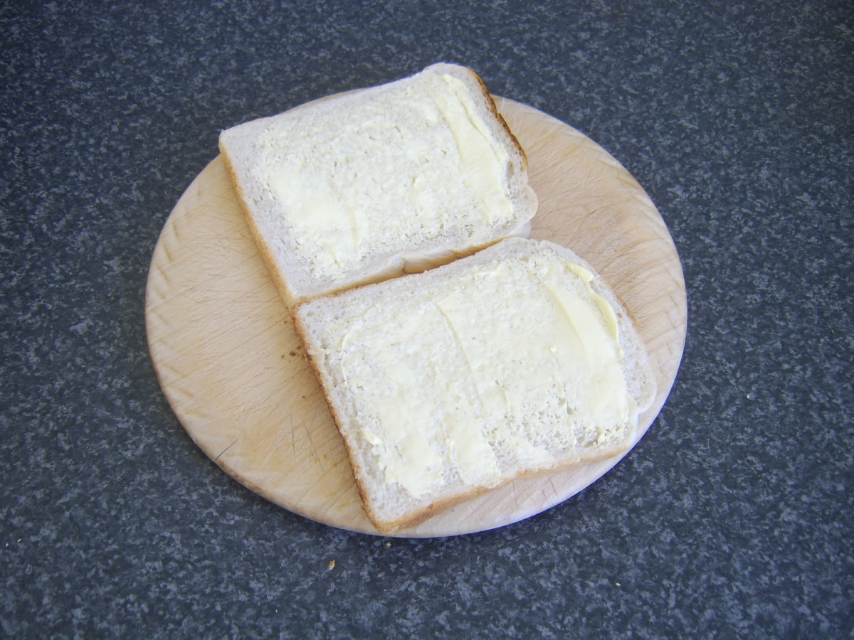 Buttered bread for toasted sandwich