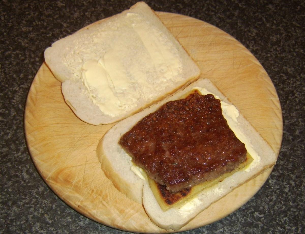 Lorne sausage is laid on tattie scone