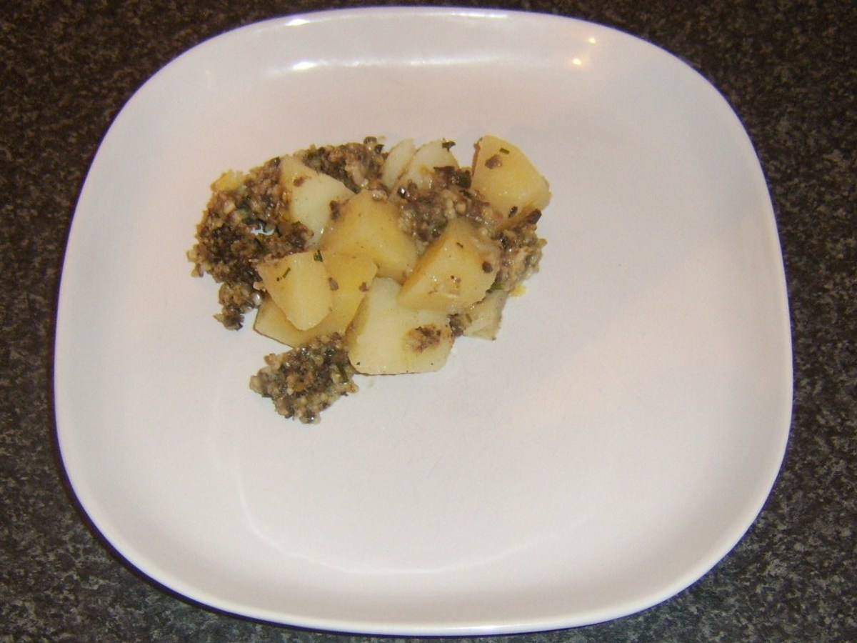 Serving haggis, tatties and neeps pie