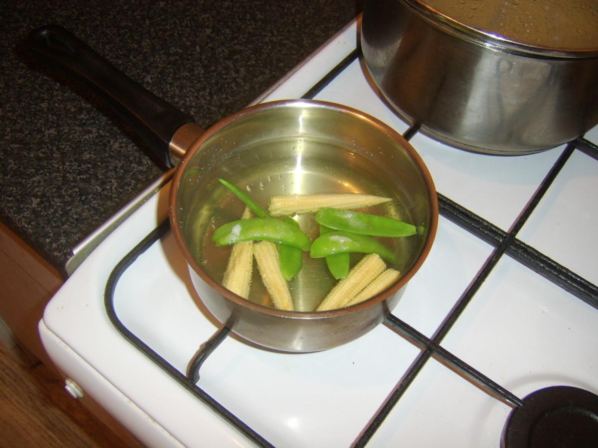 Blanching sweetcorn and mangetout