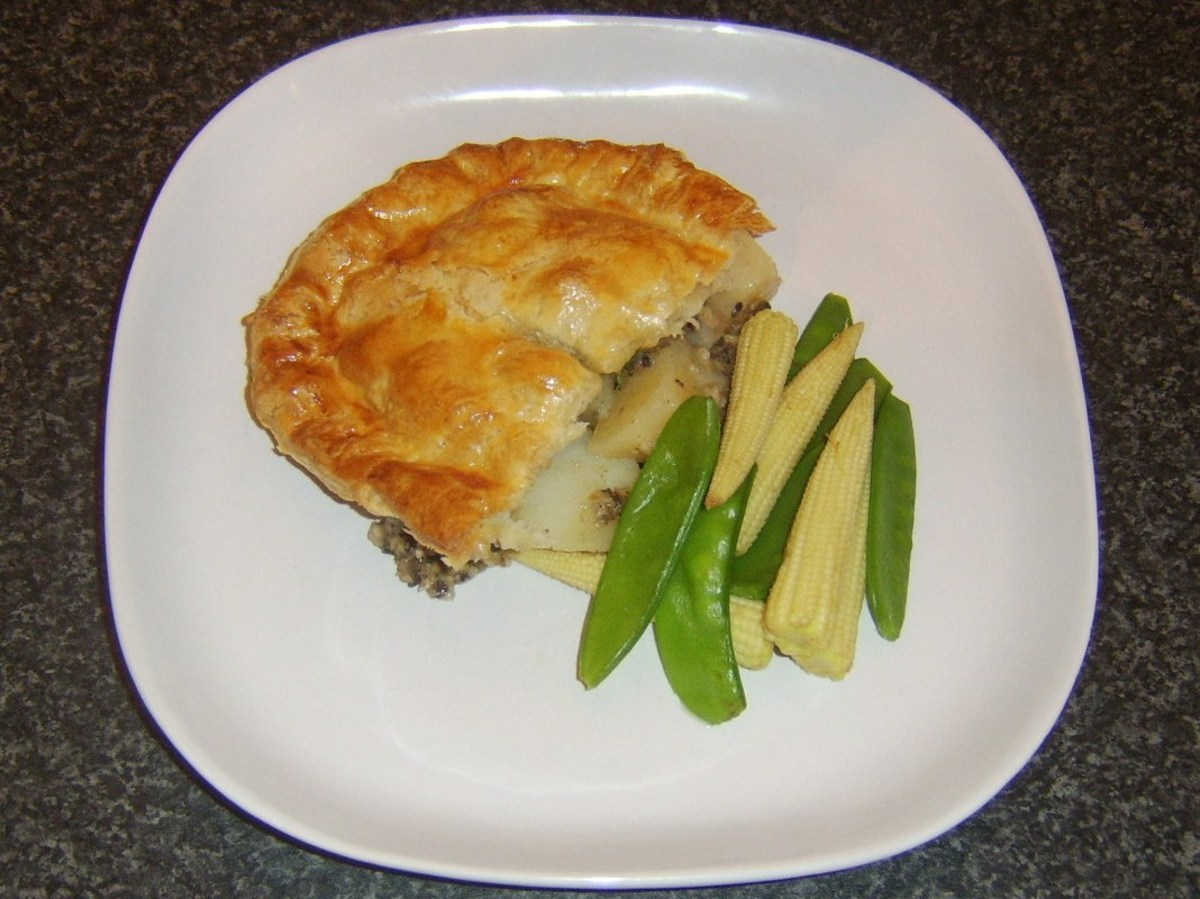 Haggis, tatties and neeps puff pastry pie with simple vegetable accompaniments